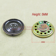 (20 шт./лот) 0.5 Вт 0.5 Вт 8 Ом 8r 8ohm мини круглый Динамик Диаметр 28 мм толщина 5 мм рожок Дверные звонки динамик