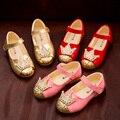 2017 primavera shoes meninas pu de couro de pele brilhante diamante coroa da princesa shoes crianças shoes tamanho 21-30