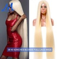 38, 40, 42 дюйма, длинные волосы, полный шнурок, человеческие волосы, парики, бразильские прямые фронтальные парики для женщин, 613, светлые волосы