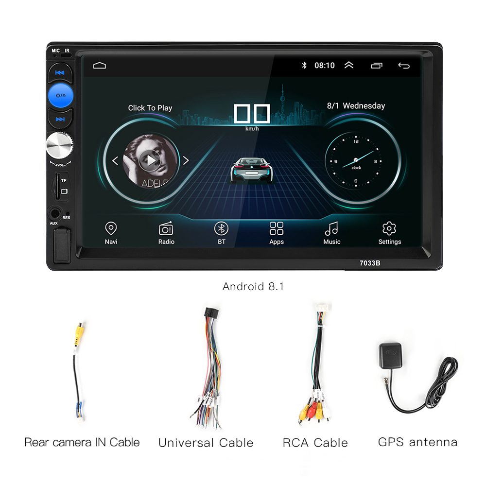 2 Din Car Radio Android 8 0 Universal GPS Navigation Bluetooth Touchscreen Wifi Car Audio Stereo FM USB Car Multimedia MP5 in Car Multimedia Player from Automobiles Motorcycles