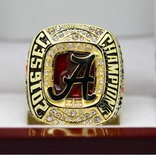 2016-2017 Anillo Campeonato Nacional de Alabama Crimson Tide SEC COLEGA 7-15 Tamaño Grabado En El Interior