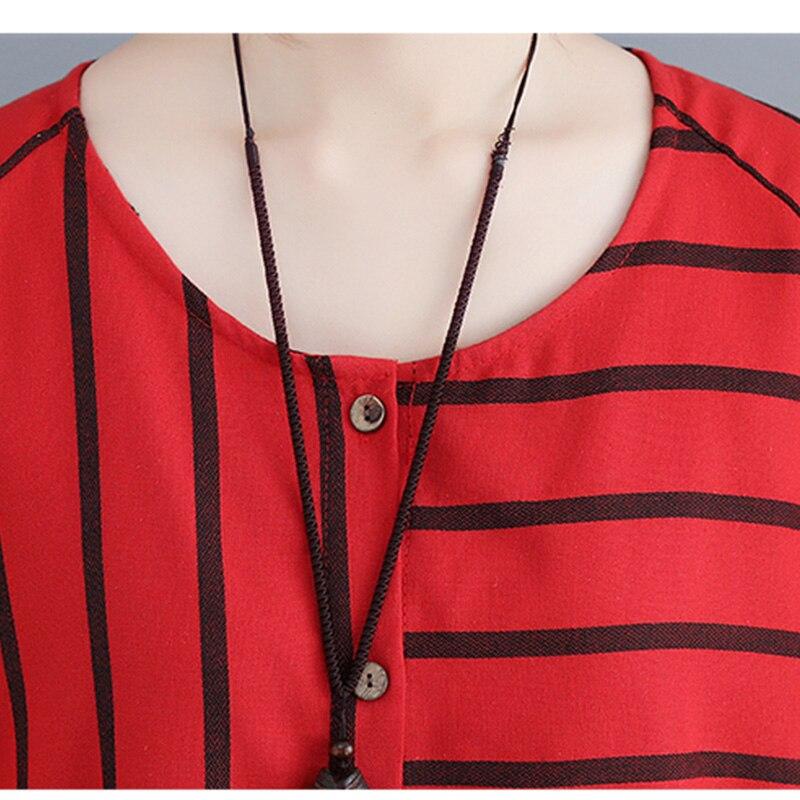 Larga 2018 Tamaño Gran azul Tops 5xl Blusa Rayas Otoño Marino Blusas Más Nueva Camisa Cardigan Mujer Camisas 4xl Rojo Y De Arte Casual qtHnnES