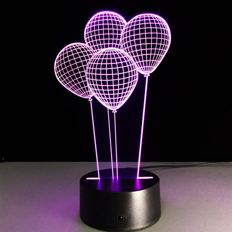 USB Led Night Lamp 7 Color 3D LED Night Light Balloons Visual Touch Switch Table Lamp Illusion Decoration Children Lamp
