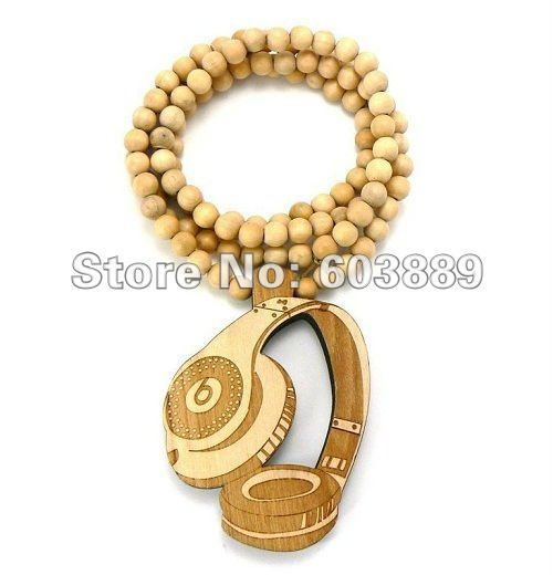 50%Promotion Free hiphop headphone goodwood wood pendant necklace wooden NYC Ball chain necklace 12pcs lot