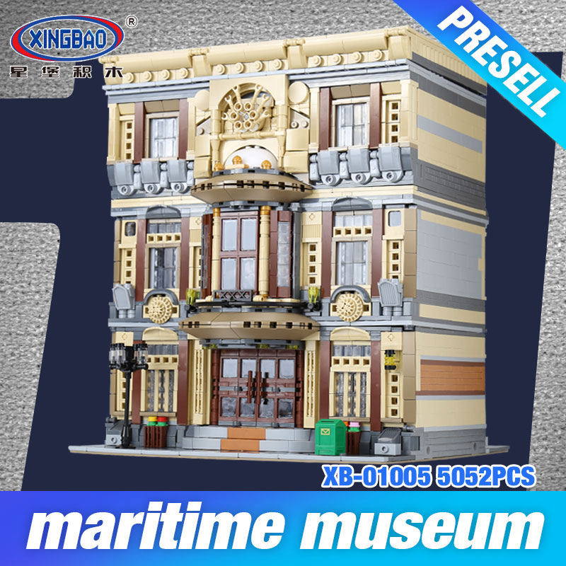 XingBao 01005 Block 5052Pcs Genuine Creative MOC City Series The Maritime Museum Set Building Blocks Bricks Toys Model DIY Gifts city block moc mini city bush trees grass plants flowers light diy building blocks bricks action figure toys legoingly particles