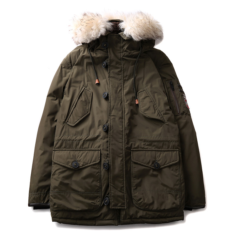 2017 New Men Padded Parka Winter Polyester Coat Thick Parkas Fur Collar army Coat Mens Free Shipping Cotton-Padded Down Jacket tiger force 2017 new collection men padded parka winter coat mens fashion jacket long thick parkas artificial fur free shipping