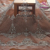 La Belleza Silver beaded lace fabric bride handmade beaded fabric 1 yard