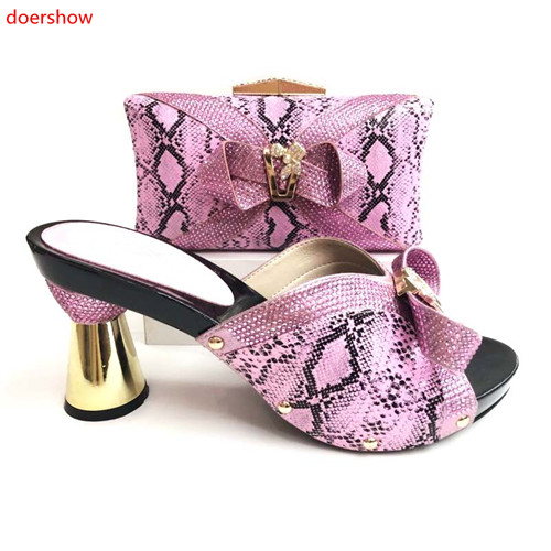 doershow Nigerian Party Shoe and Bag Set Italian Shoe and Bag 2018 African Wedding Shoes and Bag Set Party Shoes and Bags JS1-21 doershow italian shoe and bag set african lady shoes matching wedding party dress for free shipping pme1 21