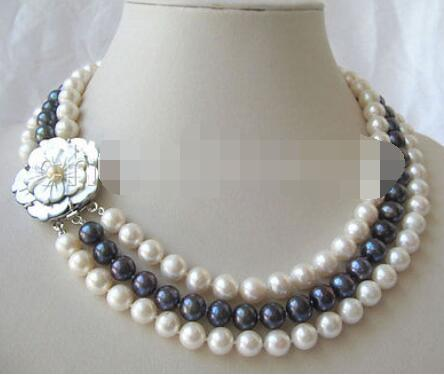 P3396 -AAA 3row 17-19 9mm natural white & black round freshwater pearl necklaceP3396 -AAA 3row 17-19 9mm natural white & black round freshwater pearl necklace
