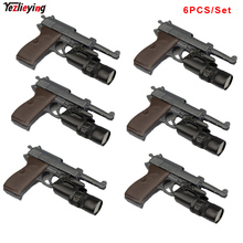 6PCS/Set 1/6 Scale WWII Walter P38 P-38 Pistol Gun Weapon Model Toys For 12