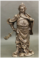 decoration Tibet copper silver bir 007001 10 Folk Chinese White Copper Silver Warrior Dragon Guan Gong Yu God Sword Statue