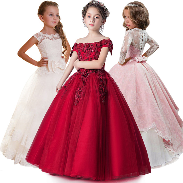 Kids Bridesmaid Flower Girls Dress For Girls Princess Dress Toddler Girl Party Dress Carnival Costume For Children Wedding Gowns