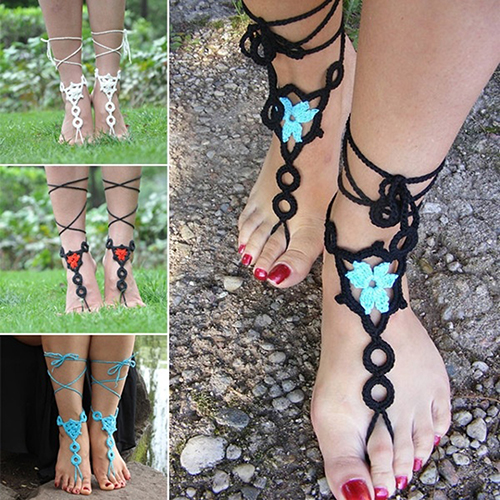 1 Pair Summer Barefoot Sandals Crochet Jewelry Cotton Bracelet Foot Ankle Anklet
