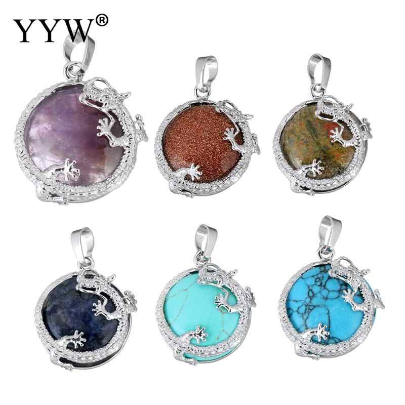 Pendants Natural Gem Stone Pendants Jewelry Silver Plated Dragon Animal Charm Sea Opal Tiger Eye Quartz fashion jewelry Pendants