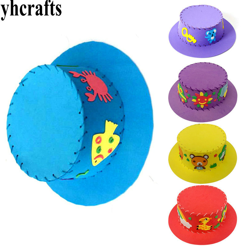 6pcs/lot,diy Foam Cartoon Kids Hat Create Your Own Hats Early Learning Educational Toys Kindergarten Crafts Adult Diy Model Building Kits