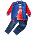 Free shipping Baby Girls Kids Navy Stripe T-shirt children clothing sets Tops Baseball Coat+Jeans 3 pieces Outfits kids clothes