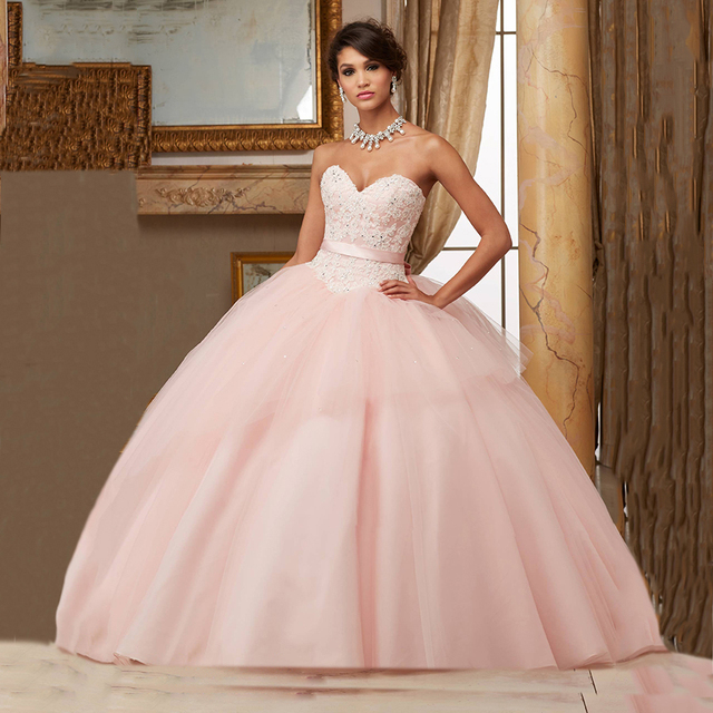 095fcdac5d Dress 15 Years Puffy 2016 Quinceanera Dresses Blush Pink Plus Size Pageant  Gowns Sweet 16 Dresses Lace Bowtie Prom Ball Gowns