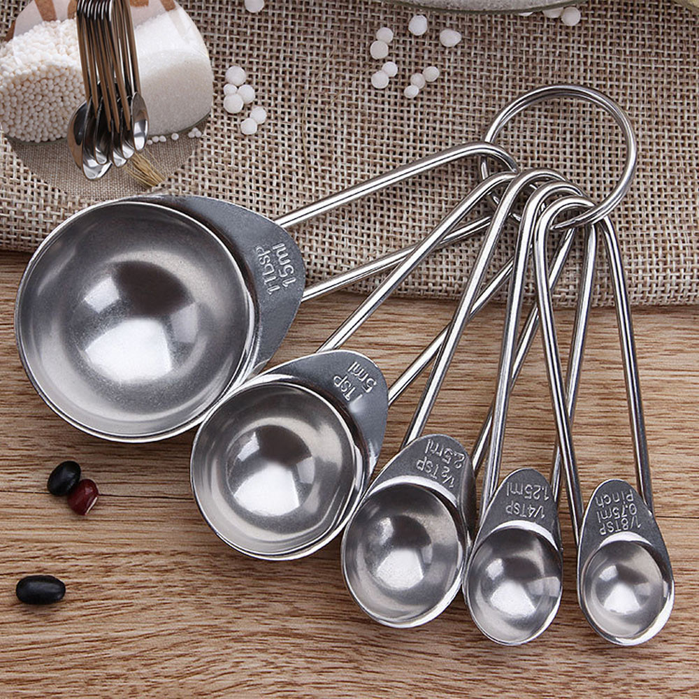 5 Pcs Stainless Steel Measuring Cup Kitchen Scale Measuring Spoons Scoop For Baking Cooking Teaspoons Sugar Coffee Tools Set