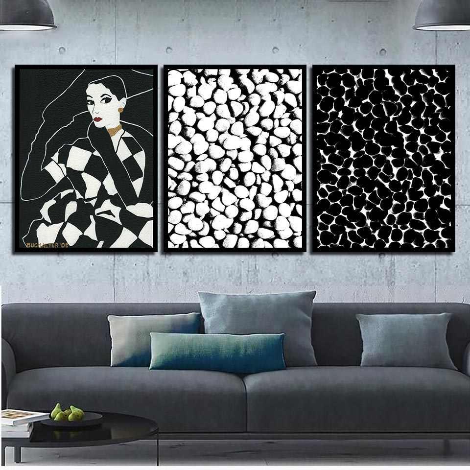 現代抽象ファッション少女と黒と白の石絵画家の装飾のキャンバスプリント写真北欧ポスター寝室の壁の芸術