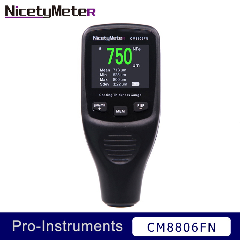 CM8806FN Car Body Tester Detailing Tool Auto Coating Thickness Gauge Backlight Car Paint Meter 50mil 1250um Tester NICETYMETER