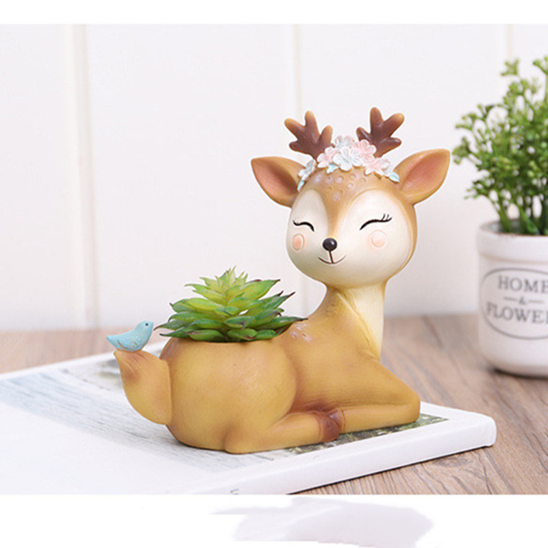 Image 3 - 2019 Flower Pot Home Decoration Accessories Figurines Succulent Plant Pots Balcony Modern Multi Deer Animal Resin Crafts-in Flower Pots & Planters from Home & Garden