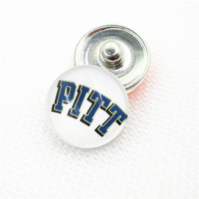 10pcs/lot University of Pittsburgh Snap Buttons for 18mm US Sports Teams Snap Bracelet&Bangles DIY Snap Jewelry Charms