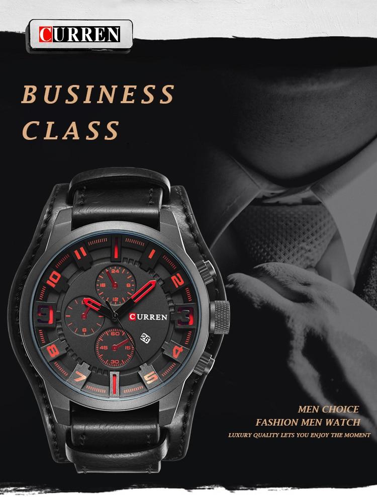 HTB1hpwTAIyYBuNkSnfoq6AWgVXaI CURREN Top Brand Luxury Mens Watches Male Clocks Date Sport Military Clock Leather Strap Quartz Business Men Watch Gift 8225
