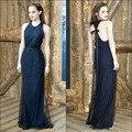 Emma Watson in Red Carpet NOAH Premiere Halter Neckline Black Tulle A line Elegant Long Wes Gordan Celebrity Dresses 2015