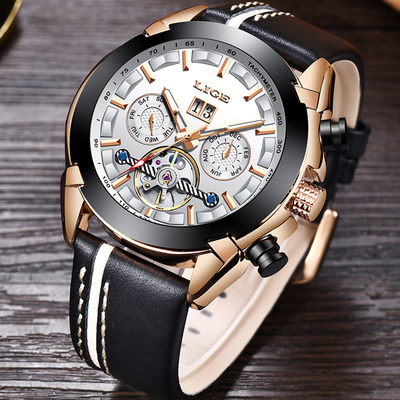 Relogio Masculino LIGE Top Brands Luxury Automatic Mechanical Watch Male Leather Waterproof Sports Watch Men Business Wristwatch