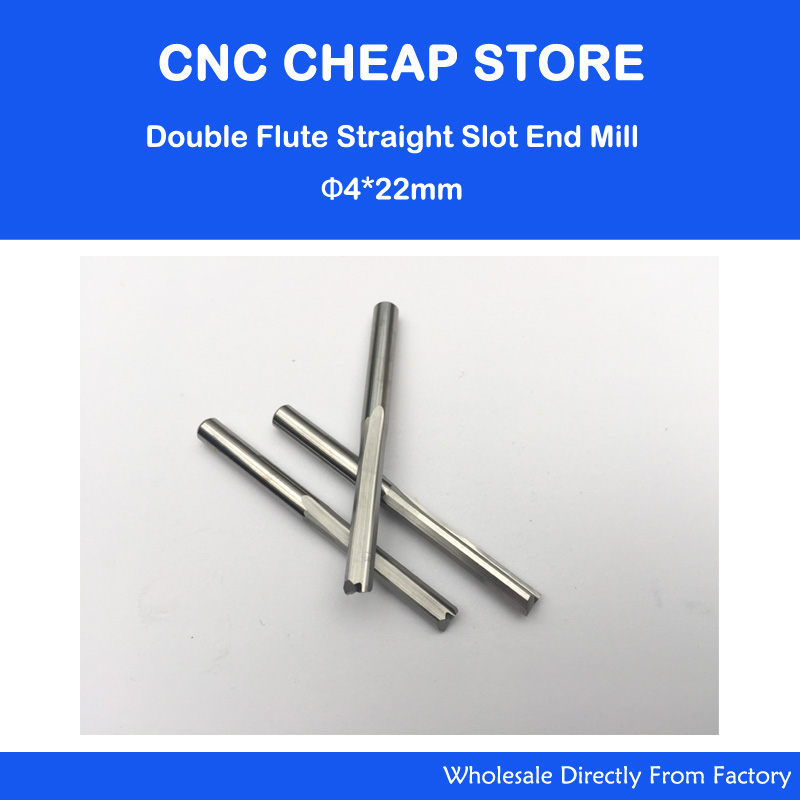 5pcs 4*22MM Two Double Straight Flute Milling Cutter, CNC Engraving Bit, Wood Router Bits Sets, Carbide End Mill 3 175 12 0 5 40l one flute spiral taper cutter cnc engraving tools one flute spiral bit taper bits