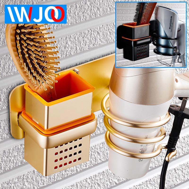 Cuarto de baño secador de pelo del sostenedor del montado en la pared para ahorrar espacio de aluminio multipropósito de baño estante de Peine de secador de pelo de oro