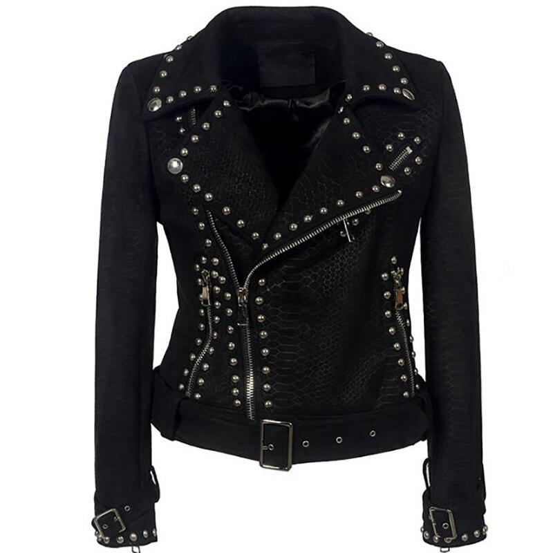 Daim Cuir Automne Femmes Printemps Court Vestes Veste Manteau Punk N060 2018  Noir Rue Femme Moto Mode ... ed0234c43443