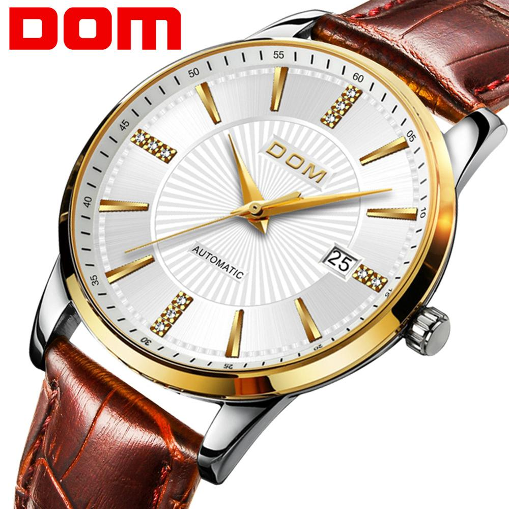 DOM Men Watch Fashion Luxury Wristwatch Waterproof Semi automatic Mechanical Watch Auto Date Business Casual Watches