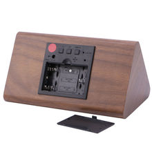 Voice Control Alarm Clock Creative Kids Wooden Snooze Desk Clock Home Bedroom LED Display Digital Triangular Thermometer