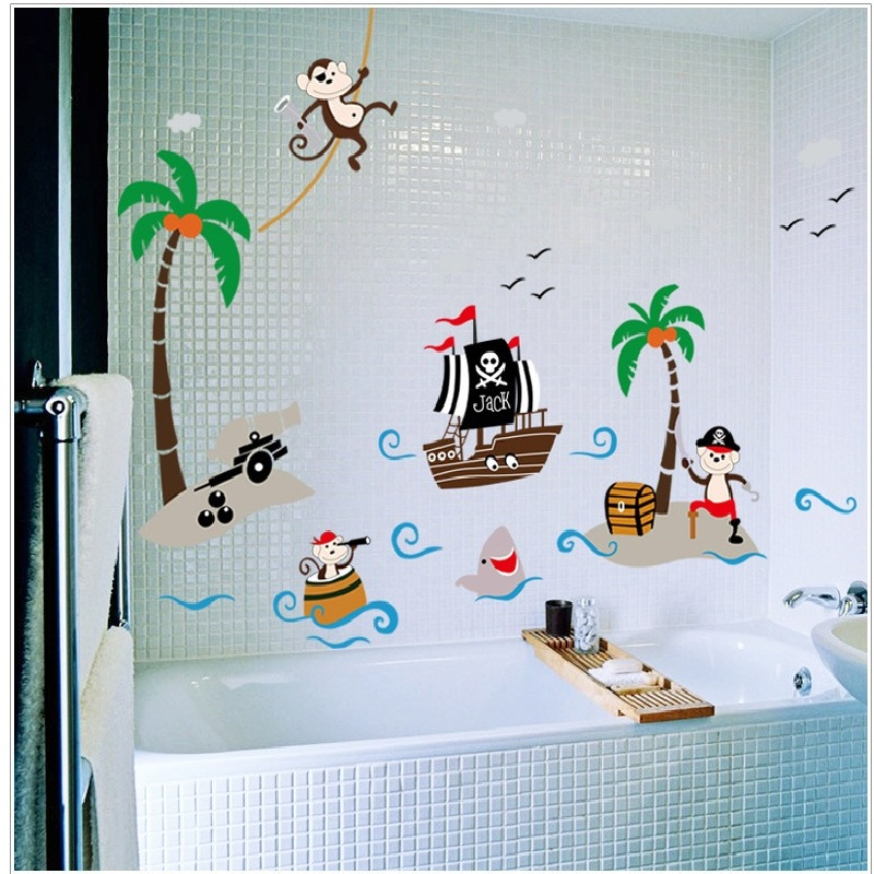 Pirate Monkeys Boat Coconut Tree Wall Sticker Cartoon Wallpaper For Kids Bedroom Home Decals Diy Adesivo De Parede Baby Poster in Wall Stickers from Home Garden