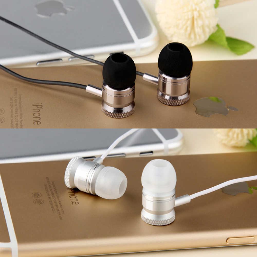 ハンズフリーメタルイヤホン 3.5 ミリメートル有線イヤホンヘッドフォン xiaomi iphone 電話用マイクイヤフォンで MP3 プレーヤー