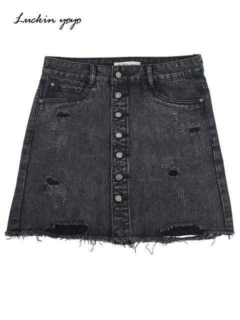 Luckin yoyo Ripped j ג 'ינס חצאית גבוהה מותן אונליין מיני חצאיות נשים 2019 קיץ אחת כפתור כיסים שחור ג' ינס ז 'אן חצאית