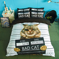 BAD CAT Bedding Sets White stripe 3pcs soft bedclothes duvet cover quilt cover pillow cases BeddingOutlet Good quality