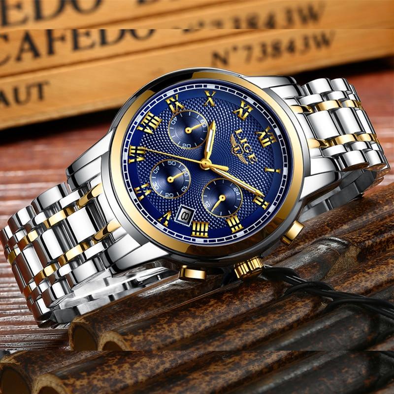 2018 New Watches Men Luxury Brand LIGE Chronograph Men Sports Watches Waterproof Full Steel Quartz Men's Watch Relogio Masculino 4