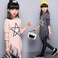 New arrival girls T-shirt fashion girls long tassels tops spring  teenage casual t-shirt kids cotton long sleeve hoodies style