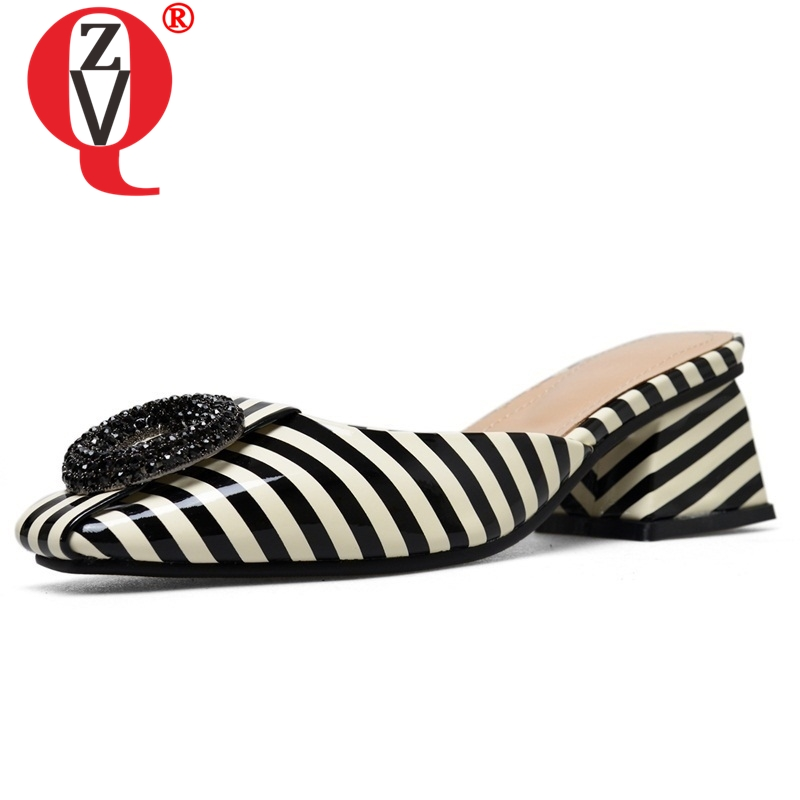 ZVQ women slippers new patent leather square toe med square heel summer black and white stripes