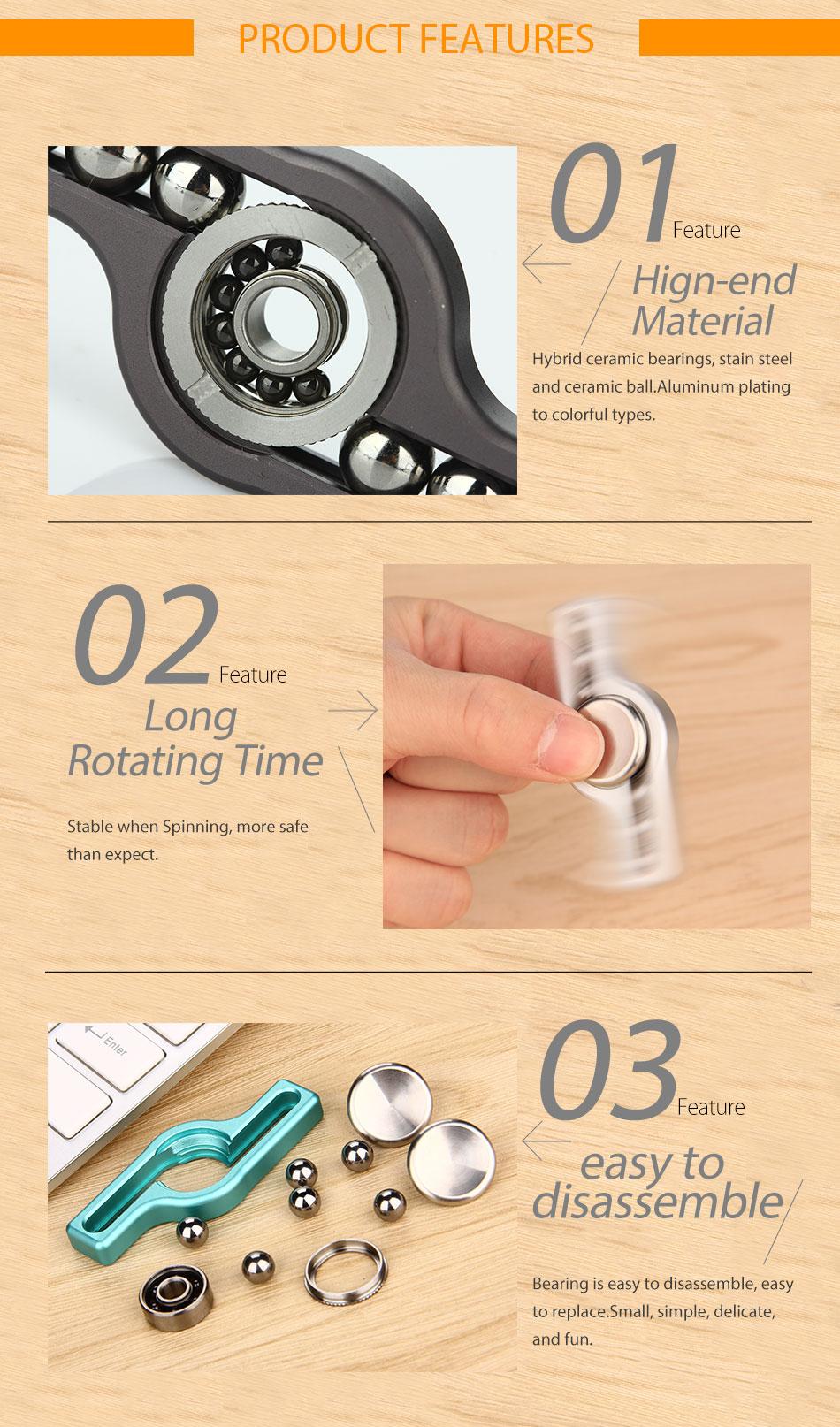 Do Dower Fidget Spinner Big Steel ball Aluminum Hand Spinner w/ Disassemble Replaceable Stain Steel & Ceramic Ball Bearing