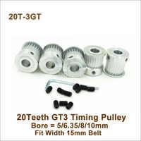 POWGE 20 Denti 3GT Puleggia Sincrona Foro 5/6. 35/8/10 millimetri Fit W = 15 millimetri 3GT Cinghia Sincrona 20 T 20 Denti GT3 di Temporizzazione puleggia BF