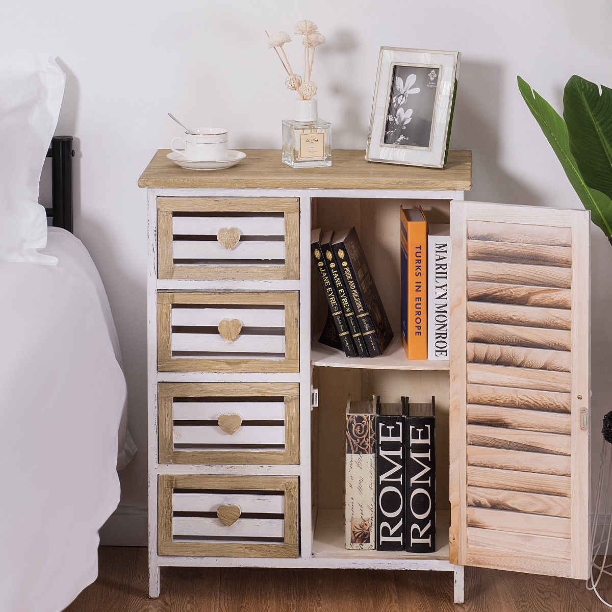 Giantex Wooden Free Standing Storage Cabinet 4 Bin-Type Drawers Storage Chest Cupboard Modern Bedroom Nightstand HW57055