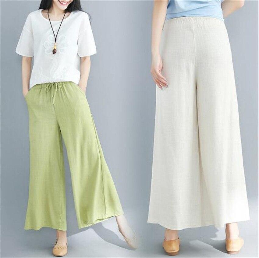 MLCRIYG 2018 свободные чистый хлопок лен широкие брюки для женщин ретро цветочные повседневные штаны