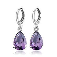 Atreus Purple CZ Jewelry silver Color Waterdrop Pendiente Brincos 7 Colors Cubic Zircon Enchanting Hoop earring For Women boucle(China)
