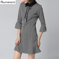 Spring Houndstooth Dress Peter Pan Collar Flare Three Quarter Sleeve Women S Clothes Autumn Dress Fashion