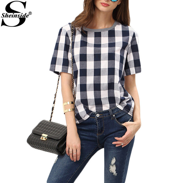 Sheinside Women Summer Style White Royal Blue Check Crew Neck Tees Women Tops Casual Shirts Short Sleeve Plaid T-shirt