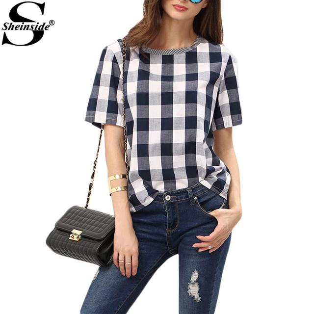 Sheinside as mulheres verão estilo branco azul Royal verifique gola Tees mulheres Tops camisas Casual xadrez de manga curta T - camisa