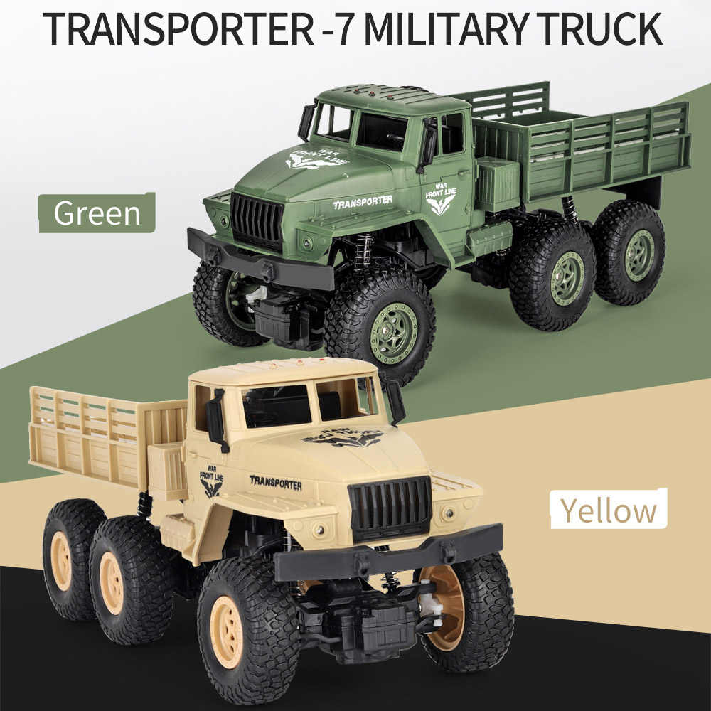 JJRC Q68 2.4GHz 6WD 1:18 RC Truck Military Car Rock Crawler Command Communication Vehicle RTR Toy Auto Army Trucks Boy Toys